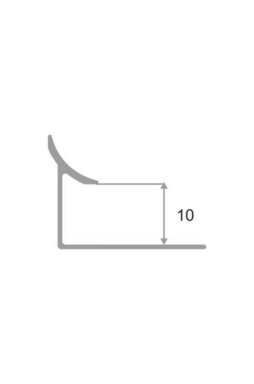 Алюминиевая раскладка для плитки внутренняя Серебро Матовый ПО В10