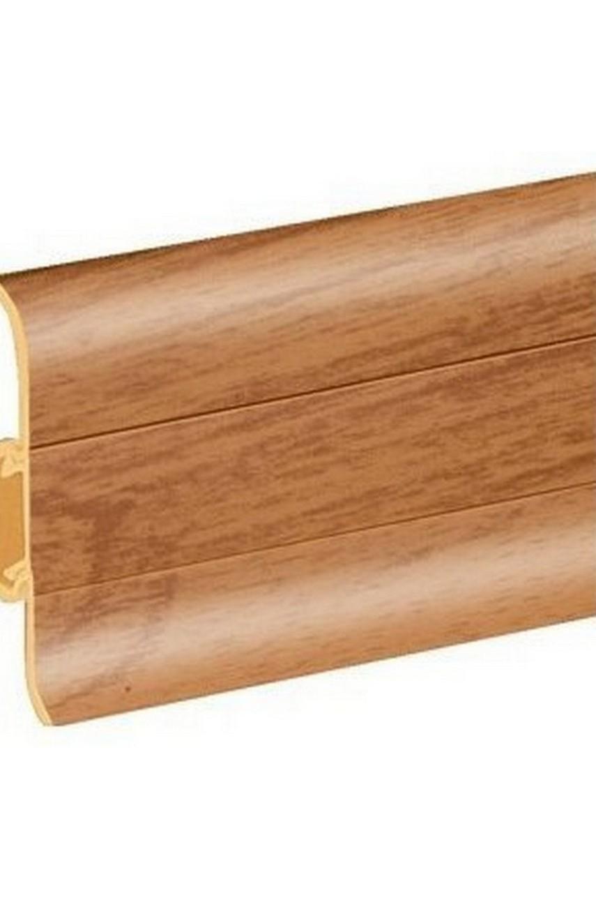 Плинтус напольный 59мм 2,5м CEZAR Premium ПВХ 68 Дуб темный