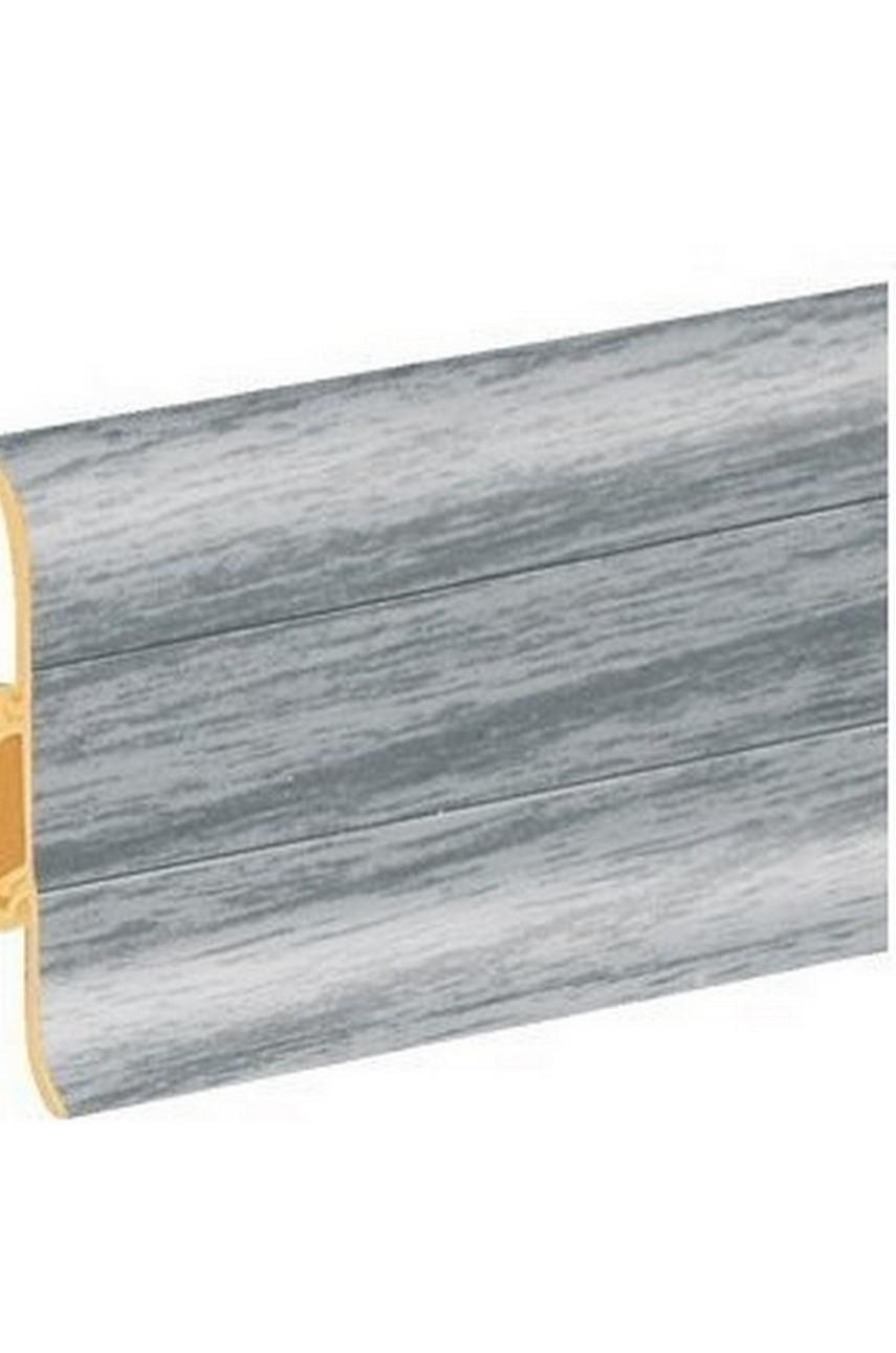 Плинтус напольный 59мм 2,5м CEZAR Premium ПВХ 078 Дуб светло-серый