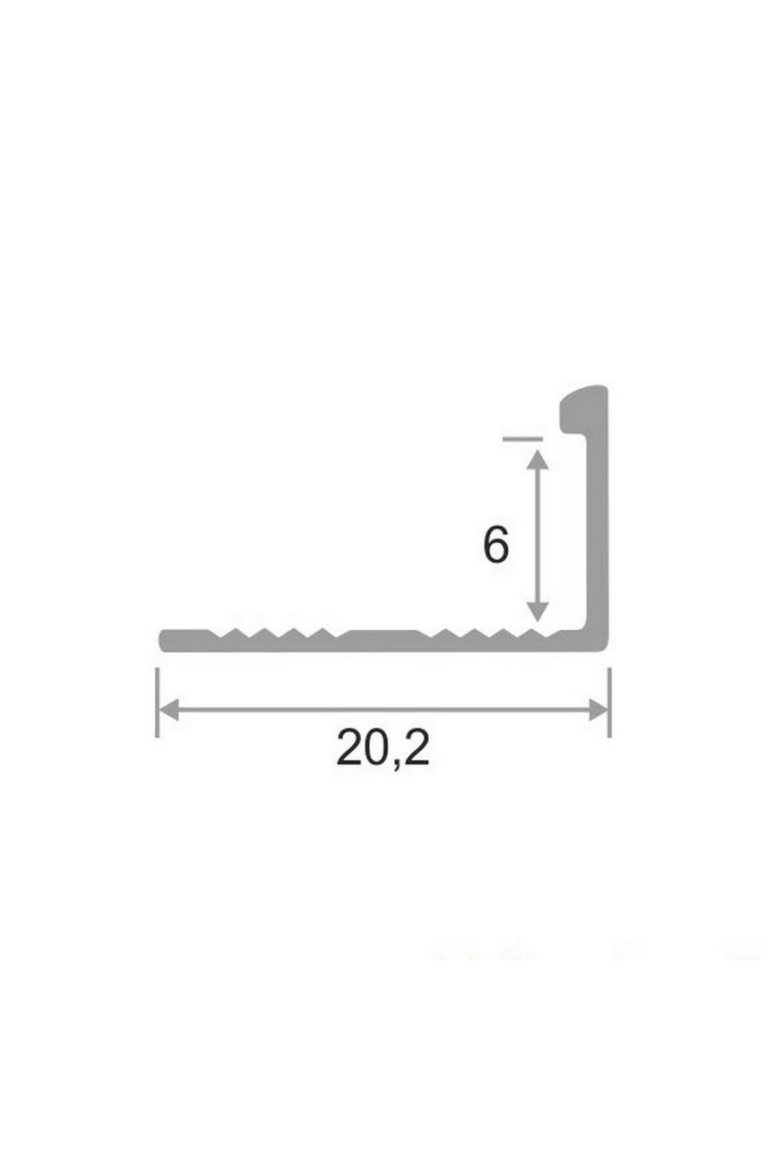 Алюминиевый Г-образный Профиль Серебро Матовый 6мм ПО Г6