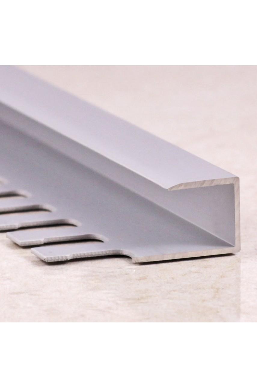 Алюминиевый П-образный Профиль Серебро Глянец 11,12мм ПО П12