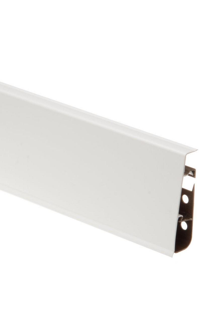 Плинтус напольный 75мм CEZAR HI-LINE PRESTIGE 2,5м. ПВХ цвет 089P Белый глянец