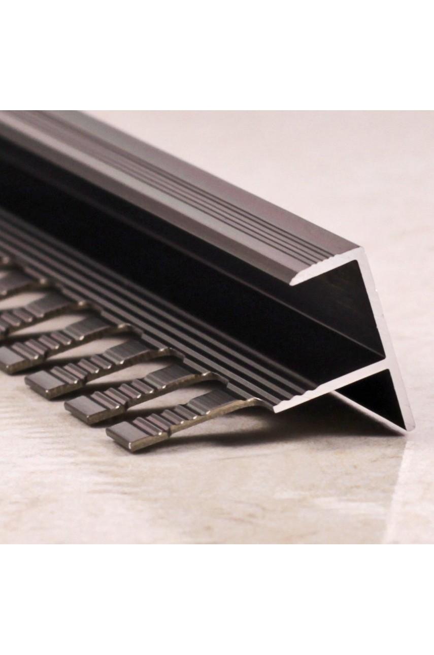 Алюминиевый F-образный Профиль для керамический плитки Бронза Глянец 11мм ПФ11