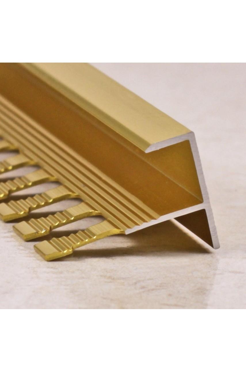 Алюминиевый F-образный Профиль для керамический плитки Золото Глянец 11мм ПФ11