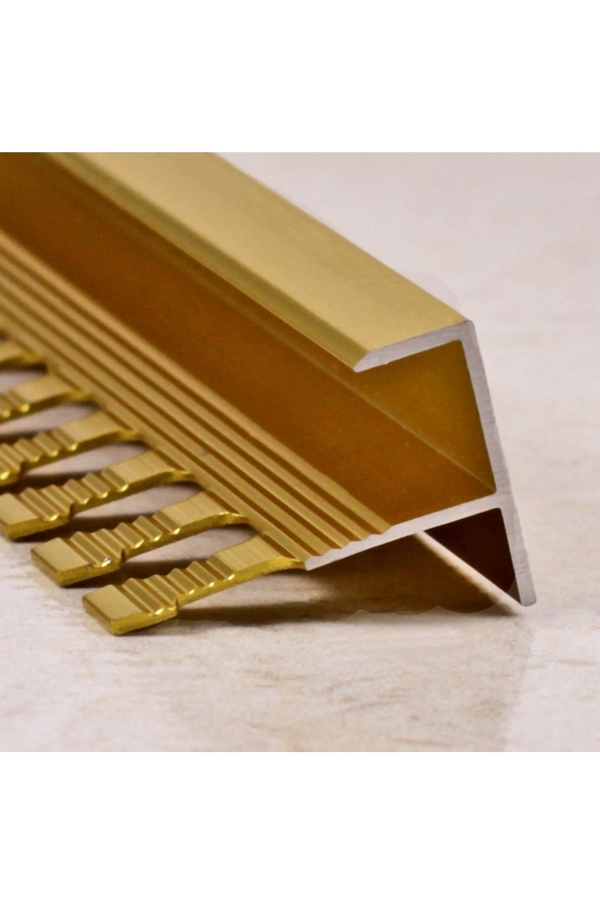 Алюминиевый F-образный Профиль для керамический плитки Золото Матовый 11мм ПФ11