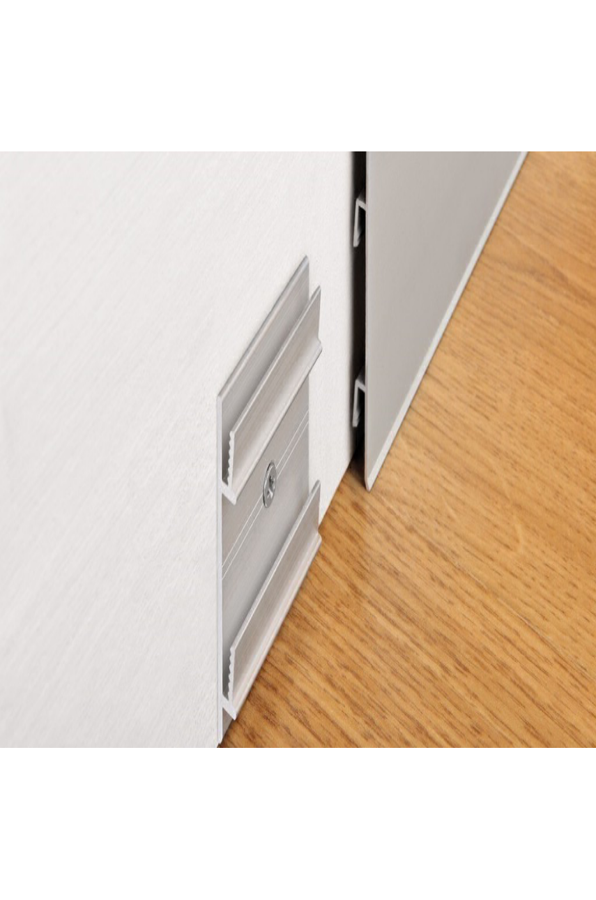 Плинтус алюминиевый анодированный 100х10мм 2м PKISPАА 100 серебро Progress profiles