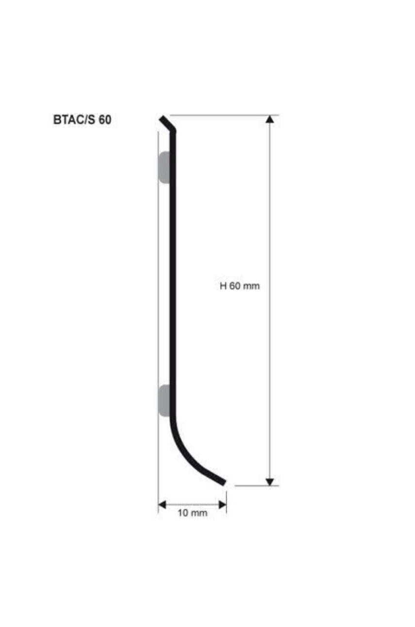 Плинтус из нержавеющей стали BTAC 60А самоклеющийся 2000х60х10 мм Progress profiles