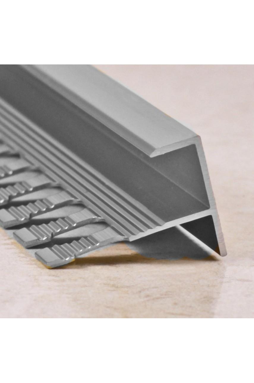 Алюминиевый F-образный Профиль для керамический плитки Серебро Глянец 11мм ПФ11