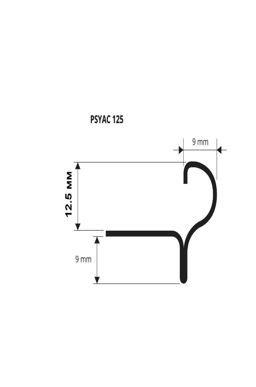 Профиль F-образный сталь полированный 12,5 мм 2,7м PSYАC 125 Progress profiles