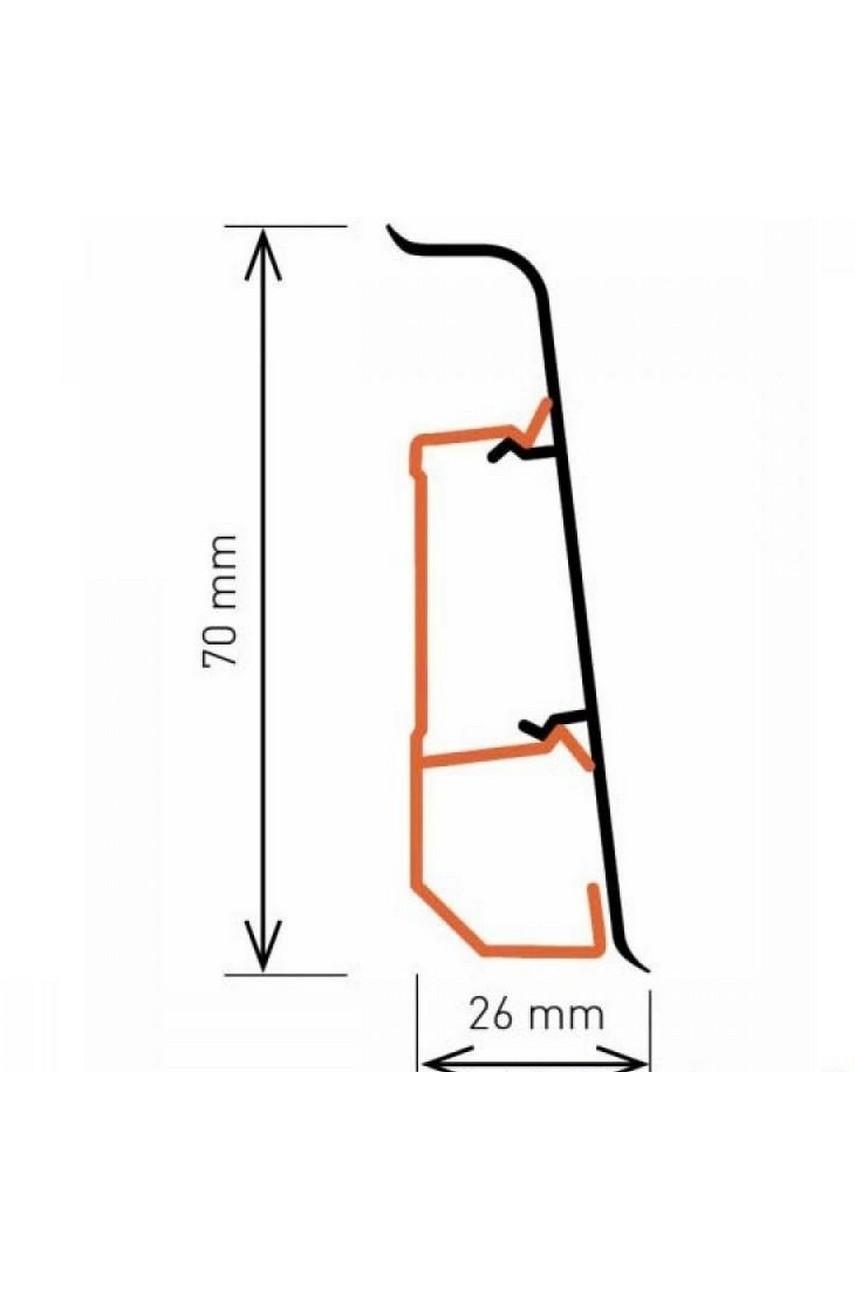 Плинтус Arbiton Indo 70мм ПВХ 17 Алюминий