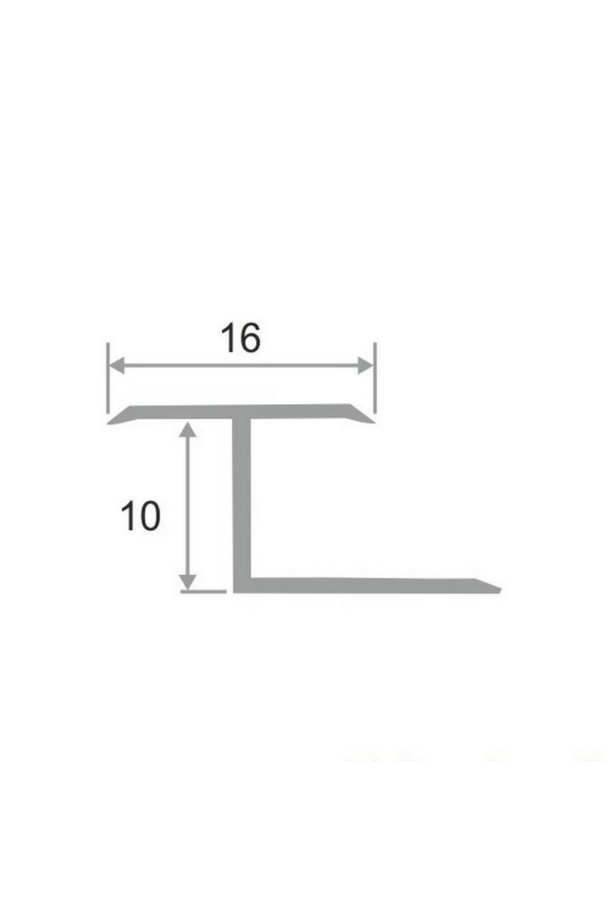 Алюминиевый Z-образный Профиль для керамический плитки Серебро Матовый 16мм ПЗ 10