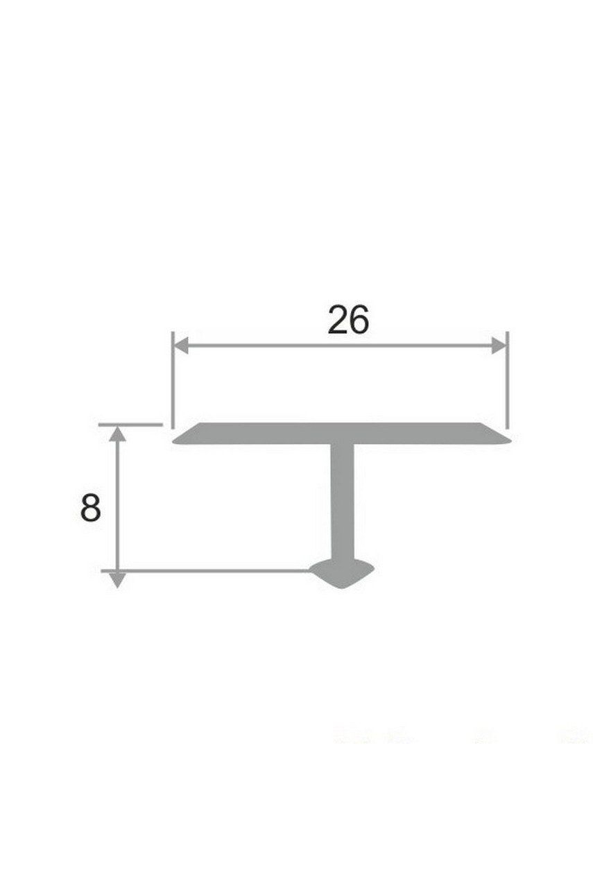 Алюминиевый Т-образный Профиль Золото Глянец 26мм ПТ 26