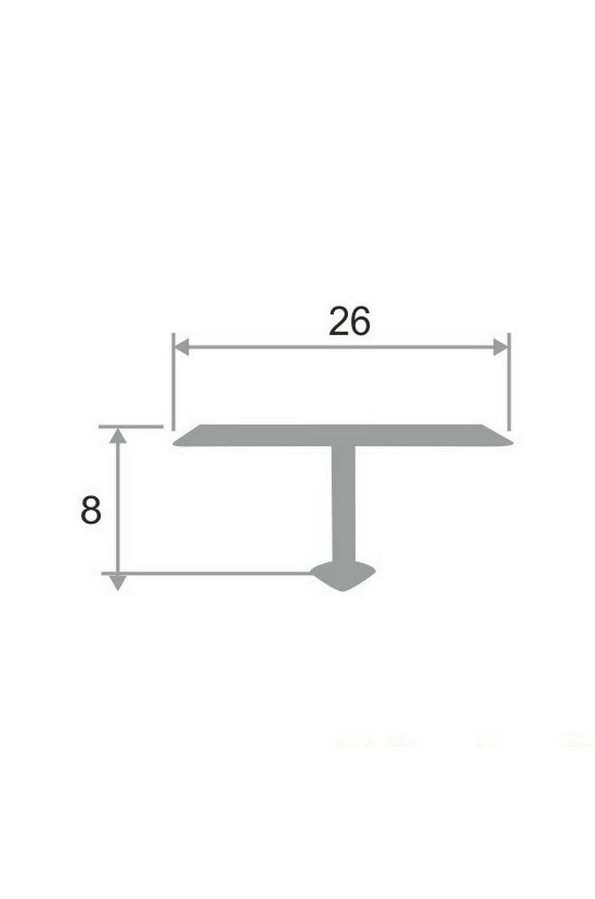 Алюминиевый Т-образный Профиль Серебро Глянец 26мм ПТ 26