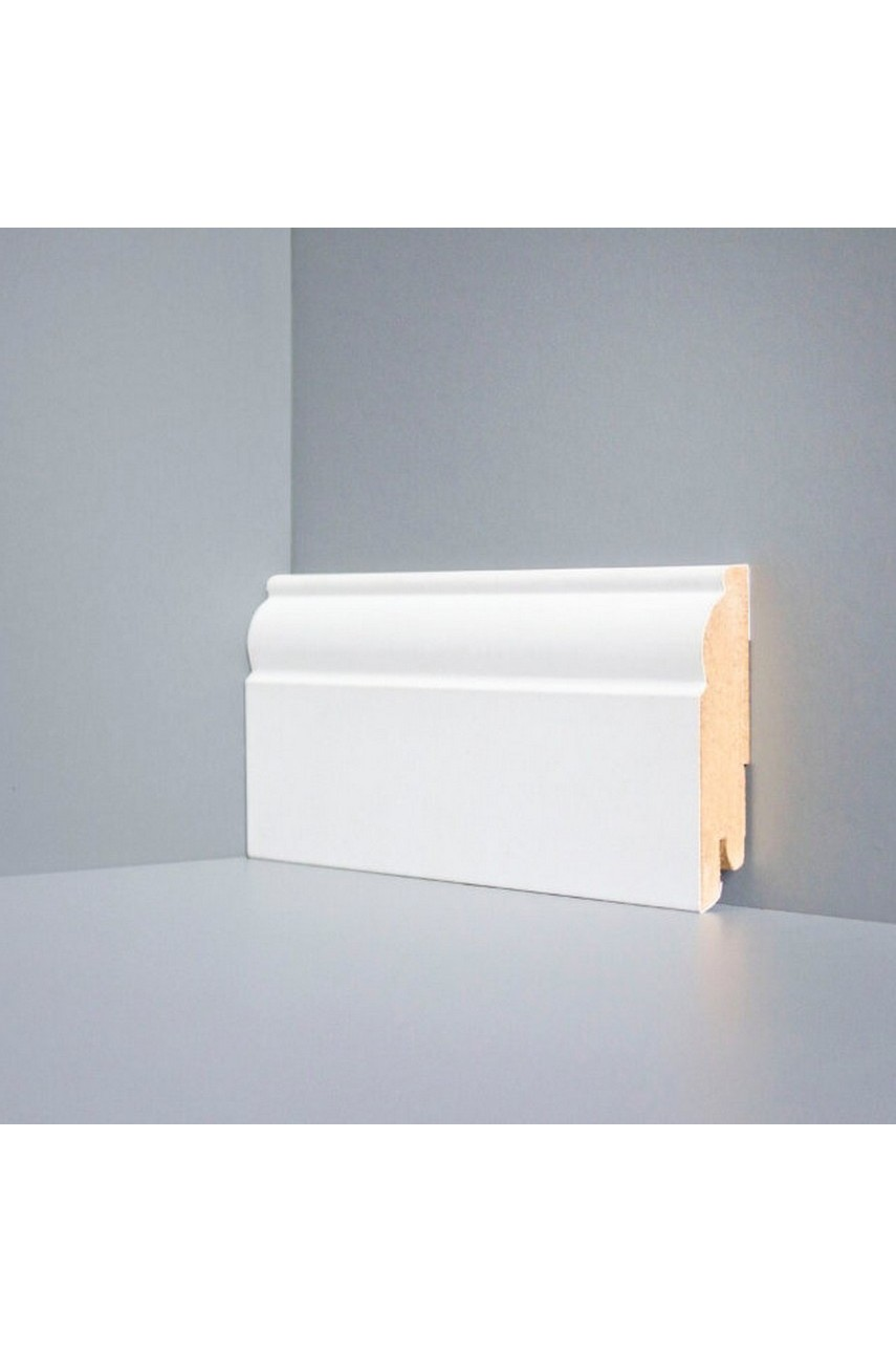 W04 - 80 мм белый напольный плинтус МДФ Deartio