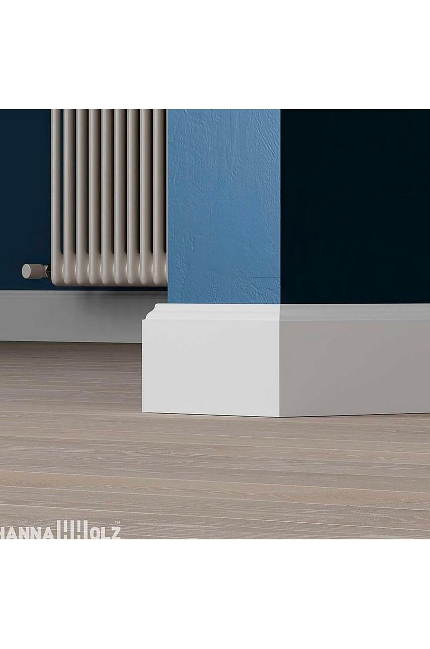 Плинтус для пола белый напольный под покраску HANNAHHOLZ AKTUELL WEISS 301 МДФ 100 мм