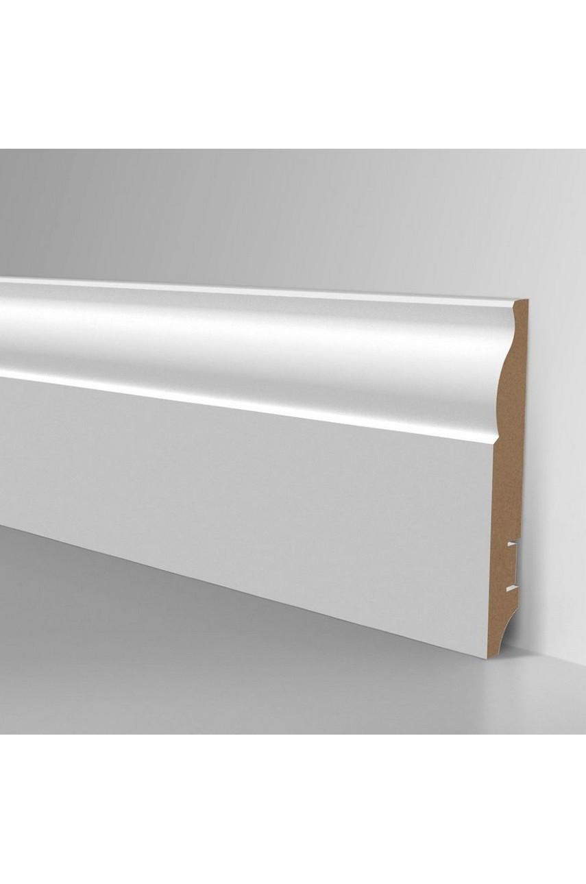 Плинтус для пола белый напольный под покраску HANNAHHOLZ AKTUELL WEISS 304 МДФ 100 мм
