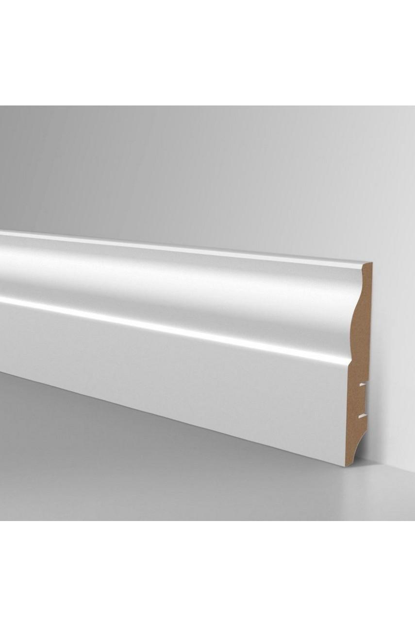Плинтус для пола белый напольный под покраску HANNAHHOLZ AKTUELL WEISS 304 МДФ 81 мм