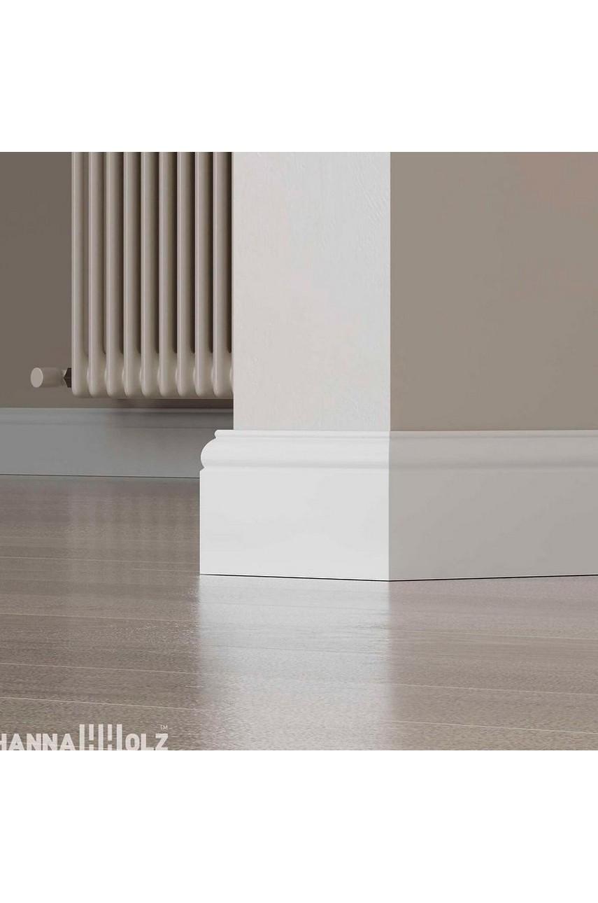 Плинтус для пола белый напольный под покраску HANNAHHOLZ AKTUELL WEISS 305 МДФ 100 мм