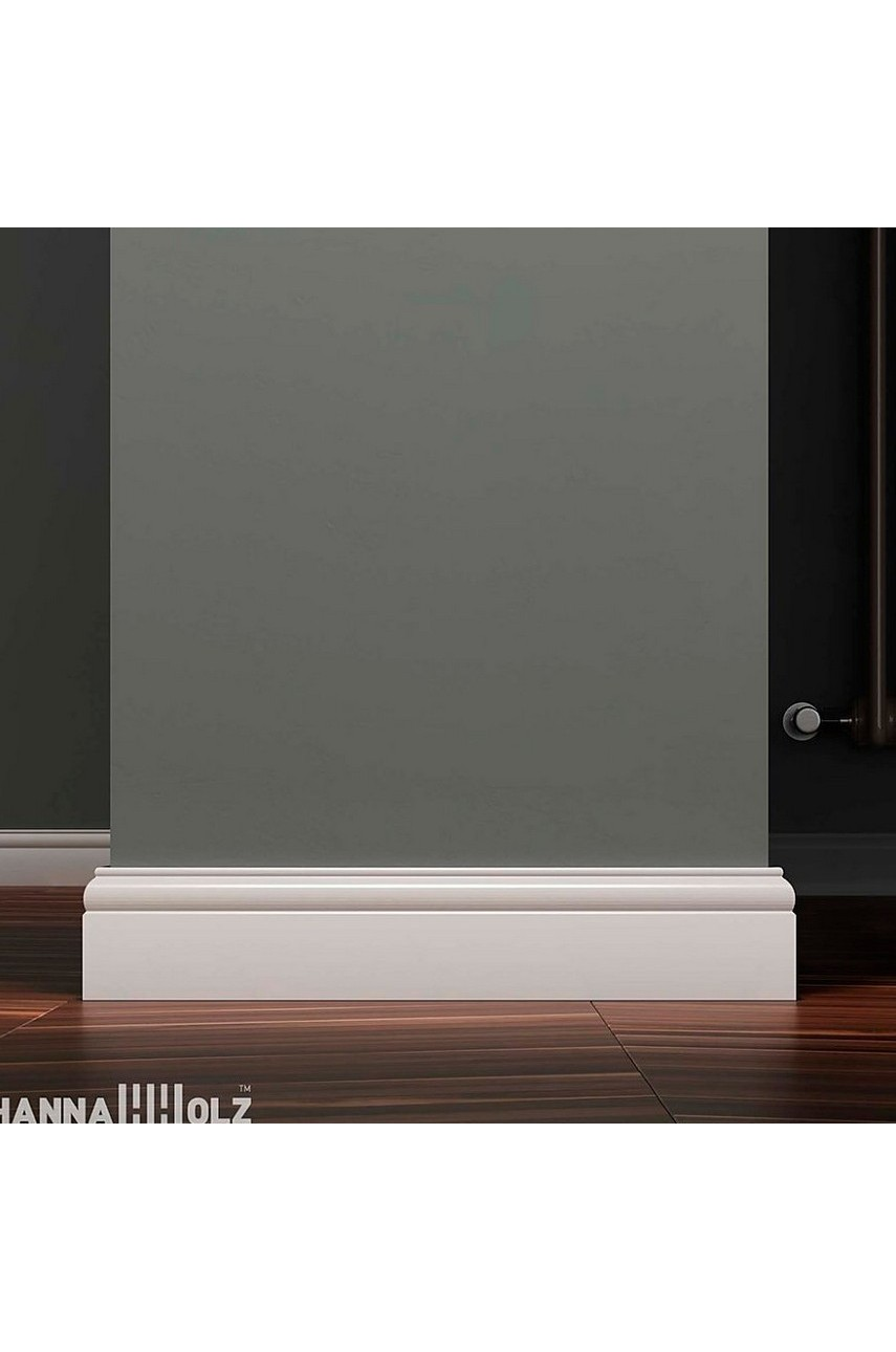 Плинтус для пола белый напольный под покраску HANNAHHOLZ AKTUELL WEISS 305 МДФ 81 мм