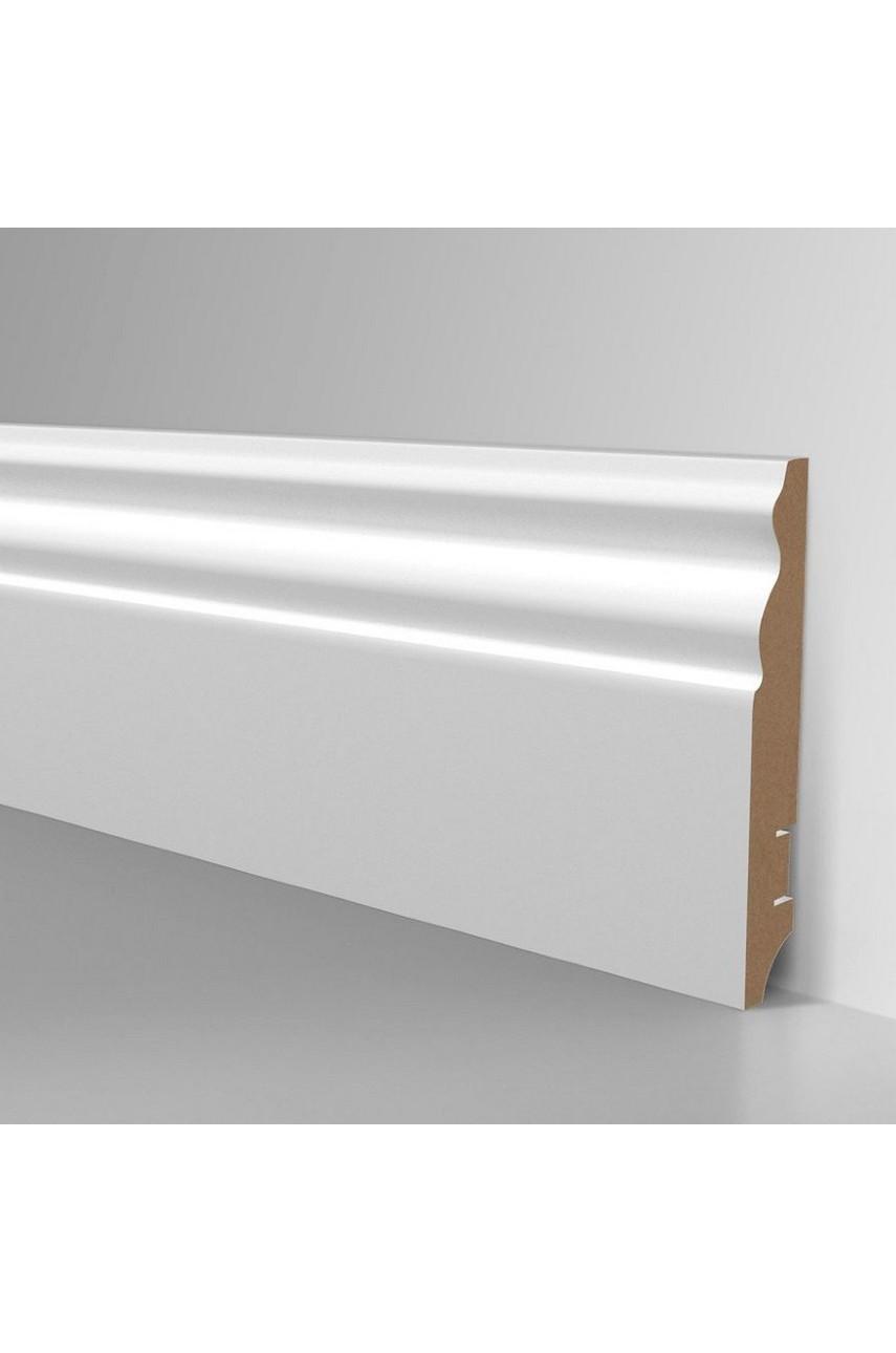 Плинтус для пола белый напольный под покраску HANNAHHOLZ AKTUELL WEISS 306 МДФ 100 мм
