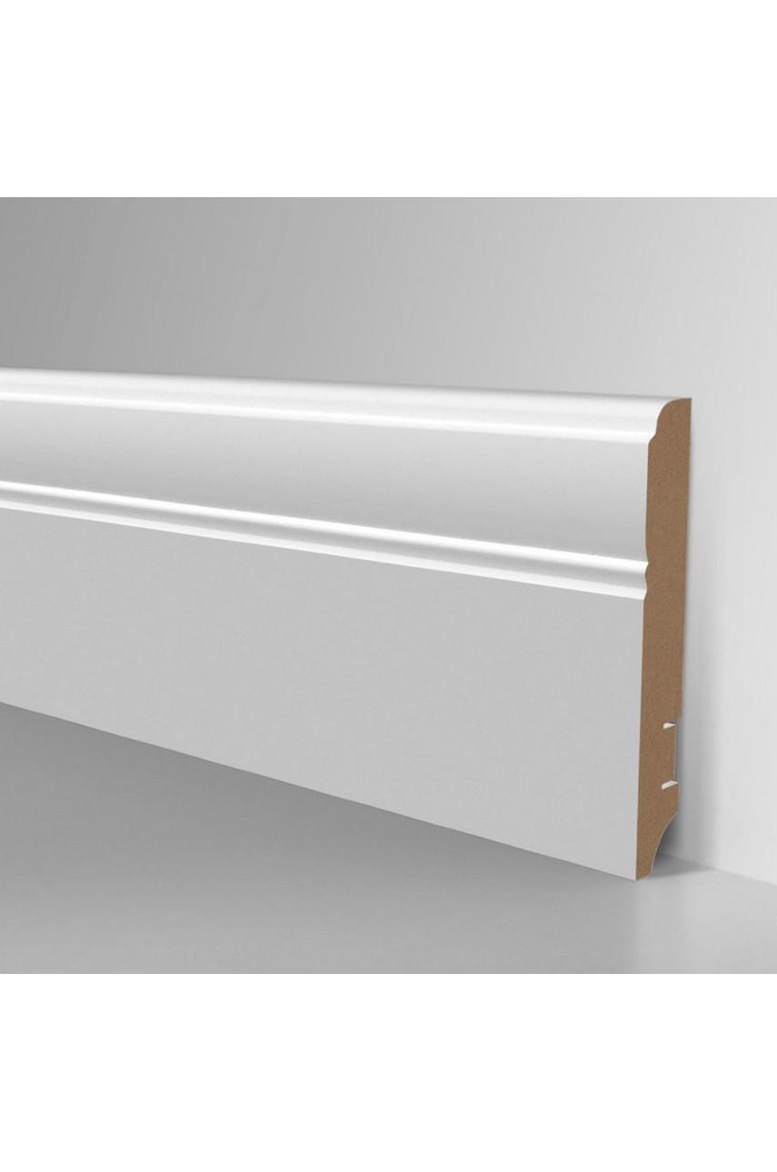 Плинтус для пола белый напольный под покраску HANNAHHOLZ AKTUELL WEISS 307 МДФ 100 мм