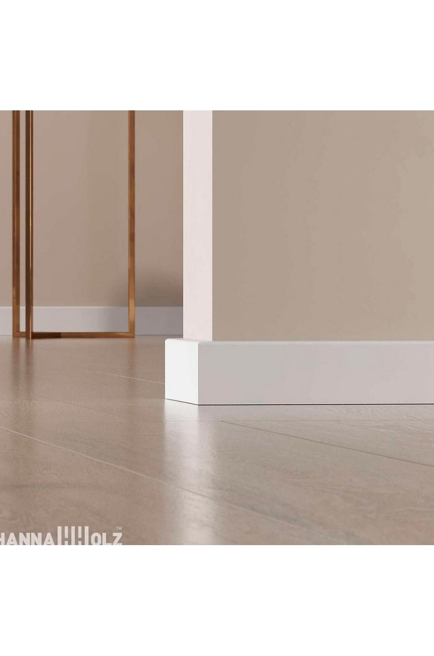 Плинтус для пола белый напольный под покраску HANNAHHOLZ AKTUELL WEISS 401 МДФ 100 мм