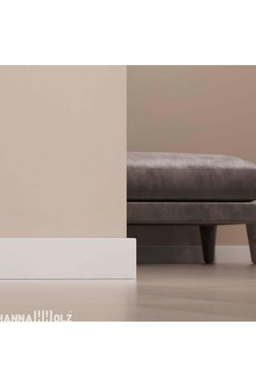 Плинтус для пола белый напольный под покраску HANNAHHOLZ AKTUELL WEISS 401 МДФ 81 мм