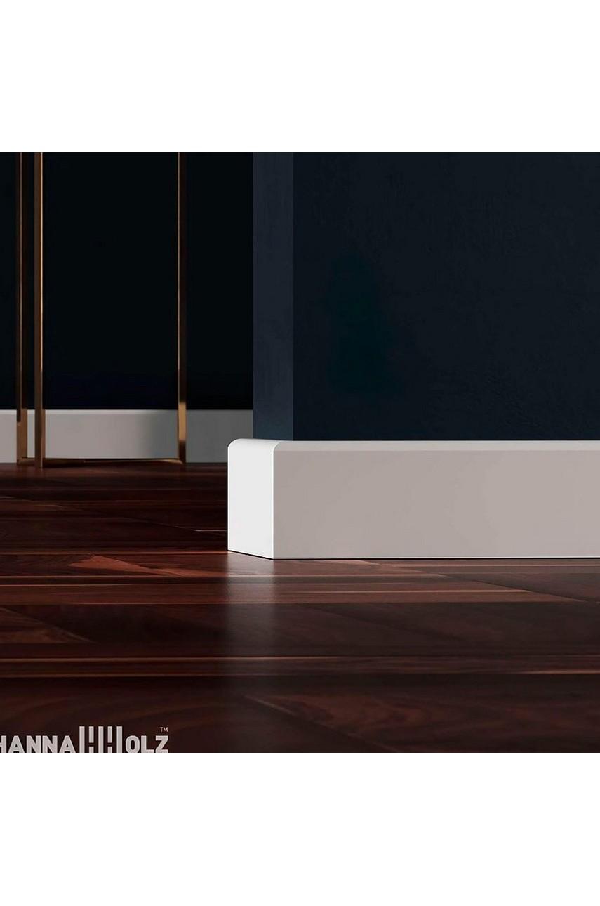 Плинтус для пола белый напольный под покраску HANNAHHOLZ AKTUELL WEISS 402 МДФ 81 мм