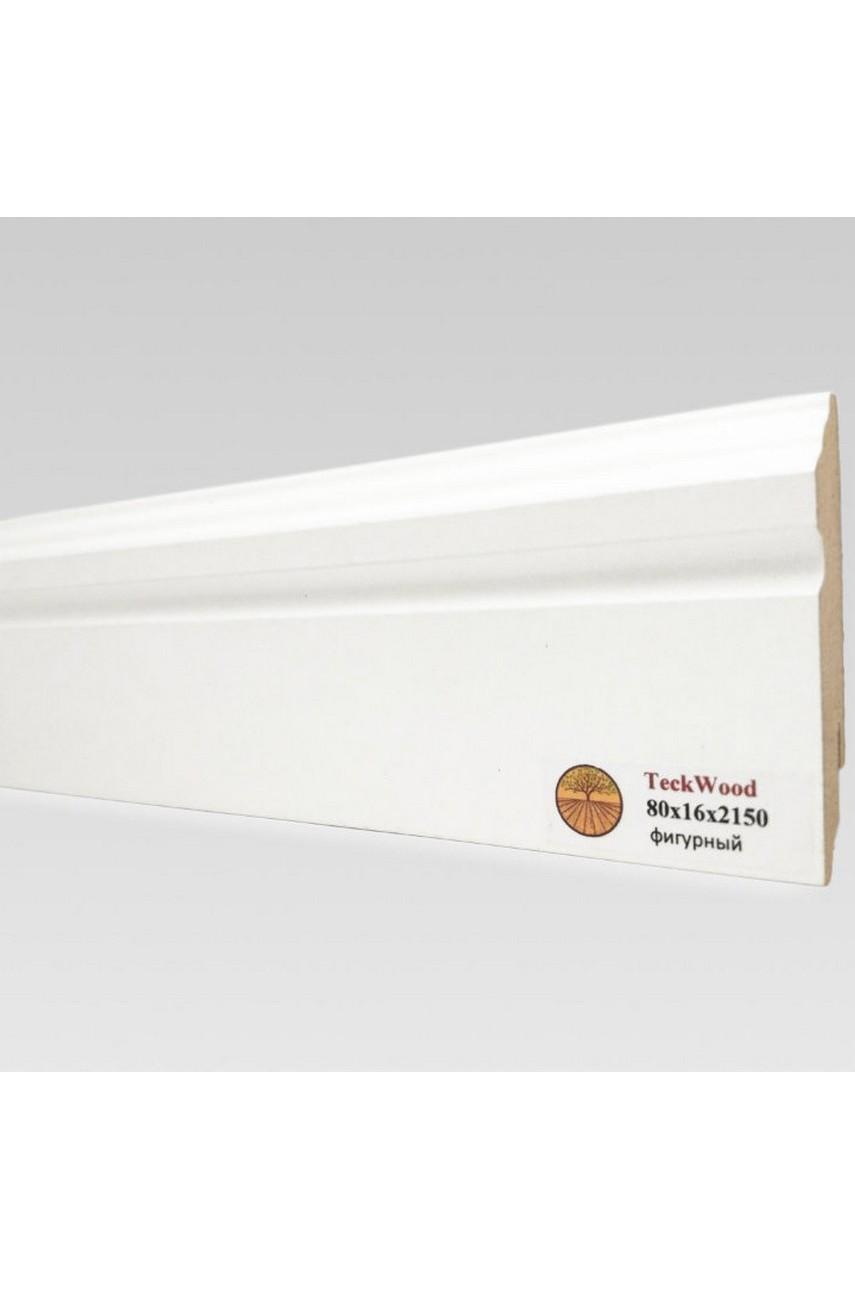 Плинтус напольный TECKWOOD белый фигурный (80х16)