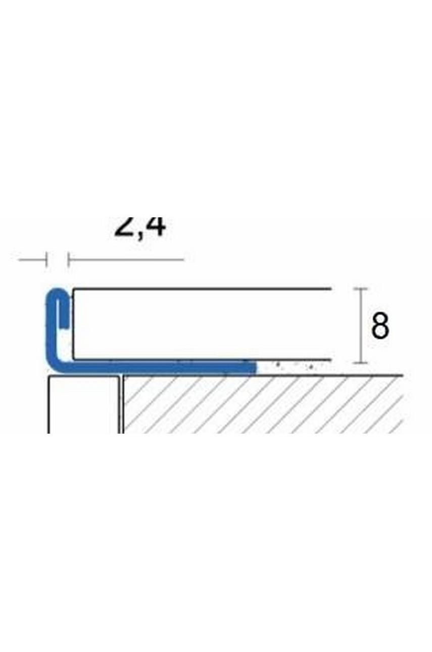Г образный профиль прямой для плитки из нержавеющей стали 8 мм AISI 304 Сатинированная(шлифованная)