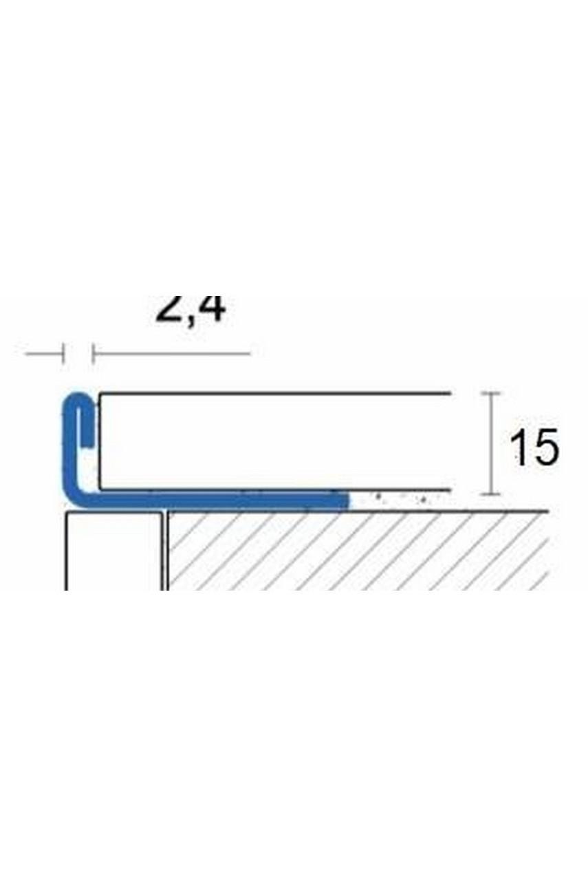 Г образный профиль прямой для плитки из нержавеющей стали 15 мм AISI 304  Сатинированная(шлифованная)