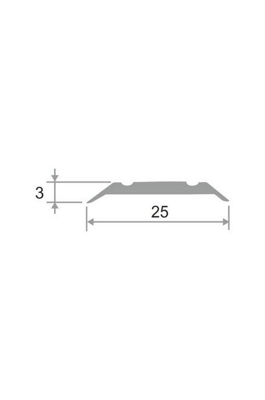 Алюминиевый порог с декоративными насечками, с отверстиями ПО 25