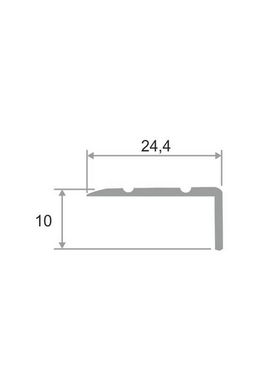 Алюминиевый угловой порог с декоративными насечками, с отверстиями ПО 24х10
