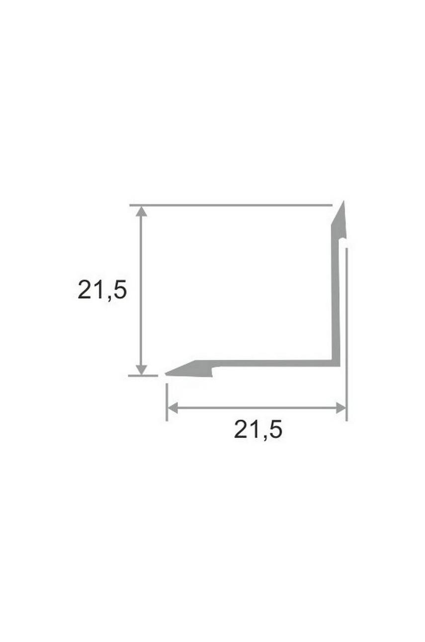 Алюминиевый внутренний угловой порог гладкий, без отверстий ПО 21х21