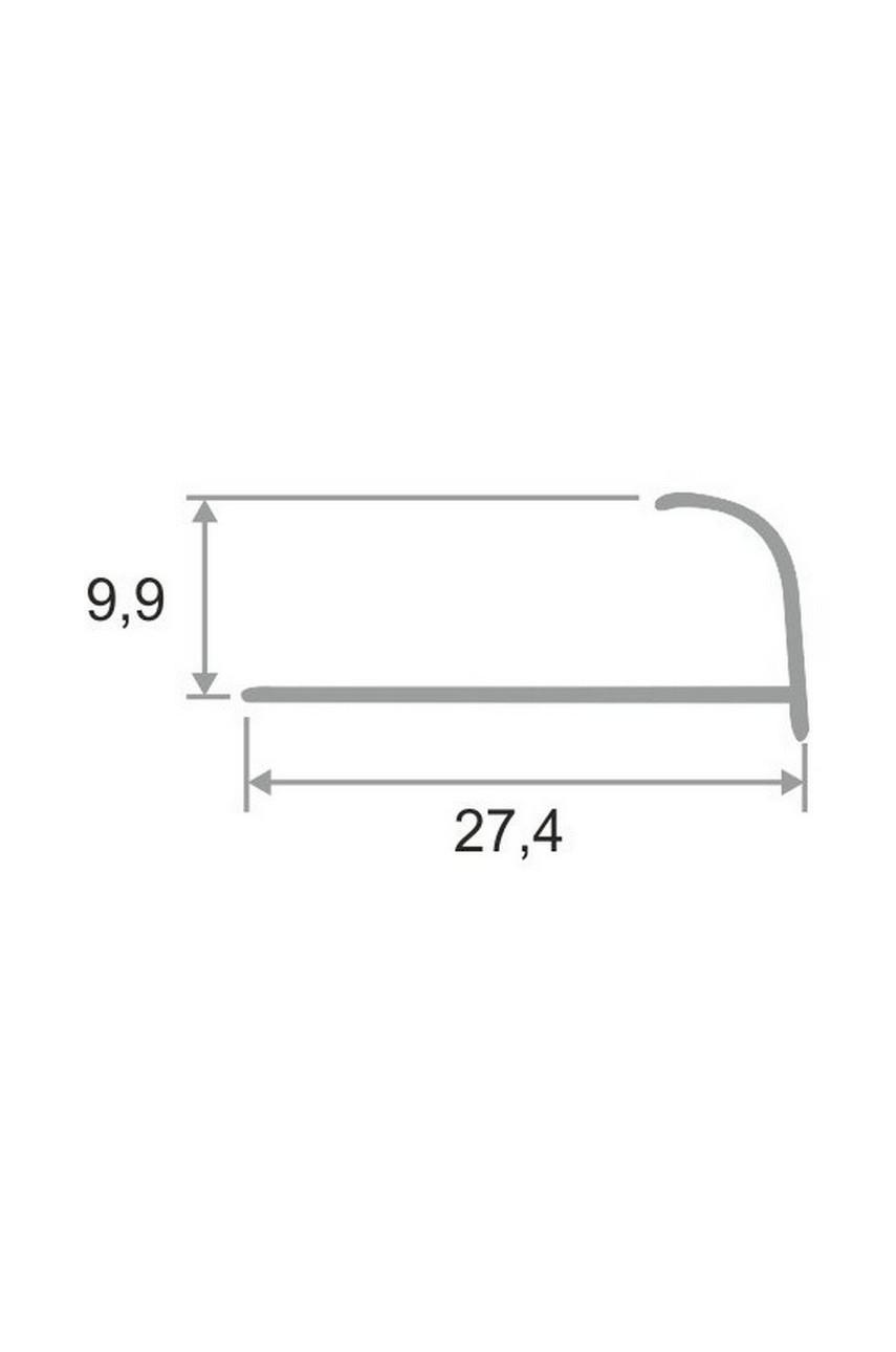Алюминиевый Профиль(раскладка) для плитки 8,5-9,5мм Серебро Матовый ПО10