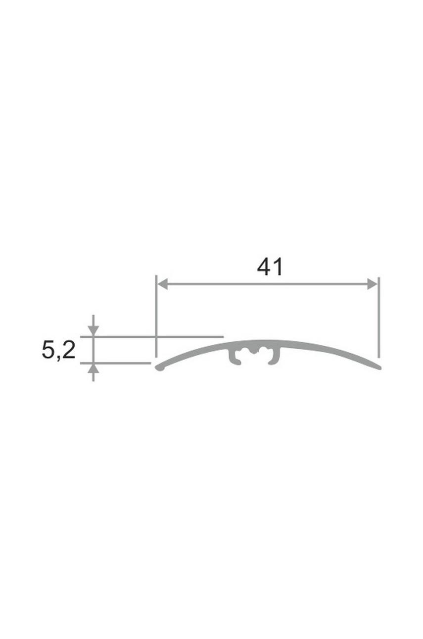 Латунный полированный порог гладкий со скрытым креплением ЛПО 41.