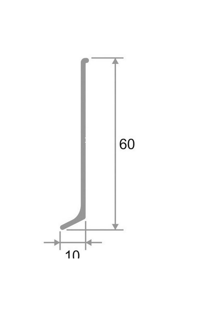 Алюминиевый(Анодированный) плинтус для пола 60мм ПЛ 3м