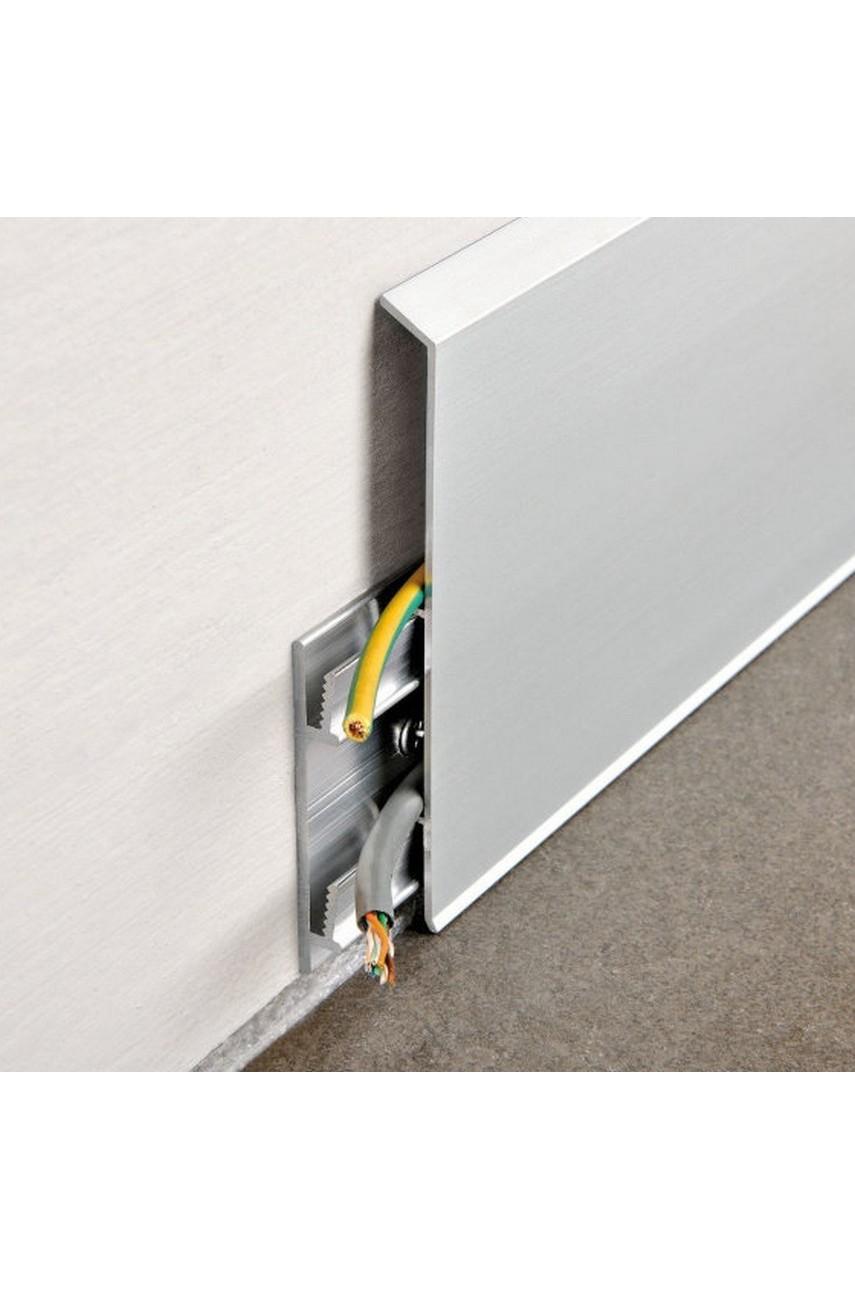 Алюминиевый плинтус с кабель каналом 70 мм ПЛ-70 Серебро матовый 3м.