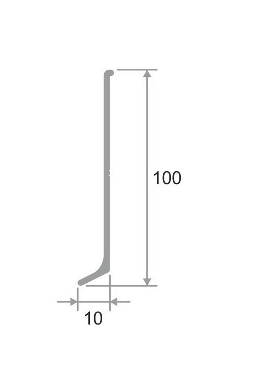 Плинтус алюминиевый черный 100мм ПТ 100 3м.