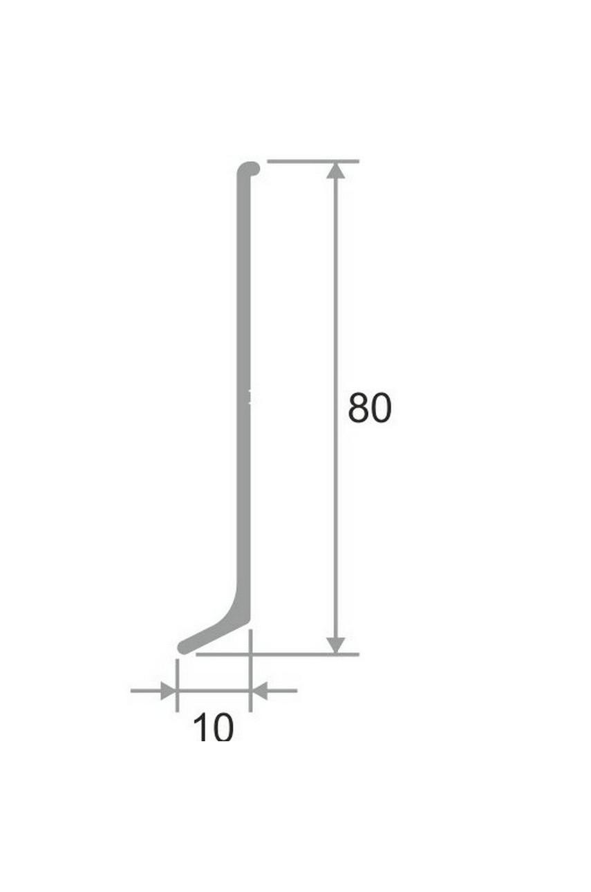 Плинтус алюминиевый черный 80мм ПТ 80 3м.