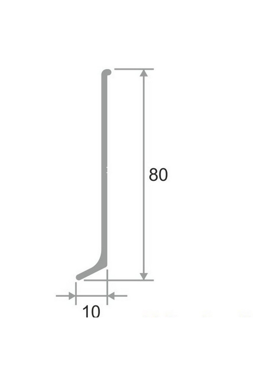 Плинтус для пола из нержавеющей стали 80мм Полированная AISI 304 SY044