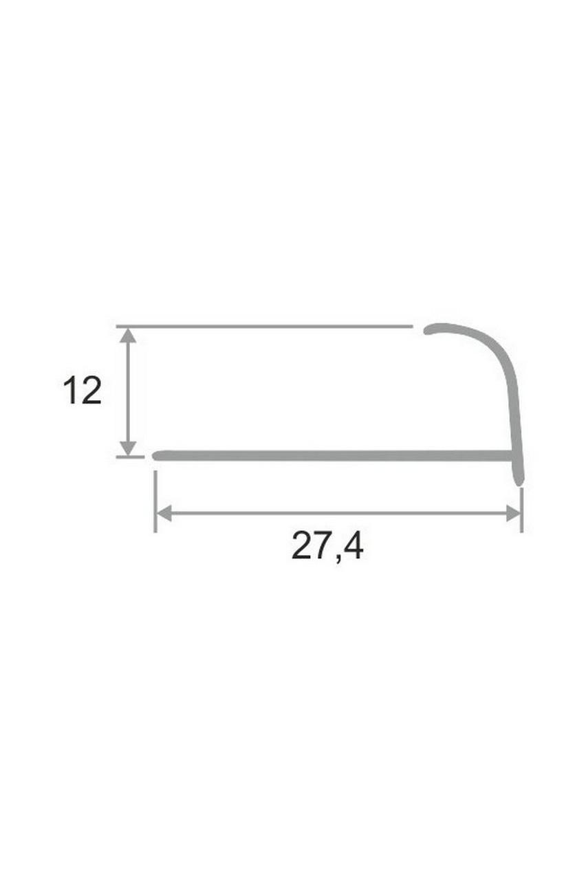 Алюминиевый Профиль(раскладка) для плитки 11,12мм Серебро Матовый ПО13