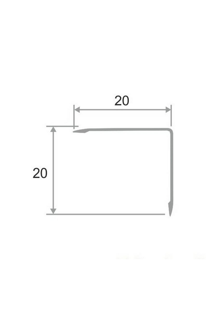 Анодированный алюминиевый уголок 20х20 Серебро Матовый ПН20х20