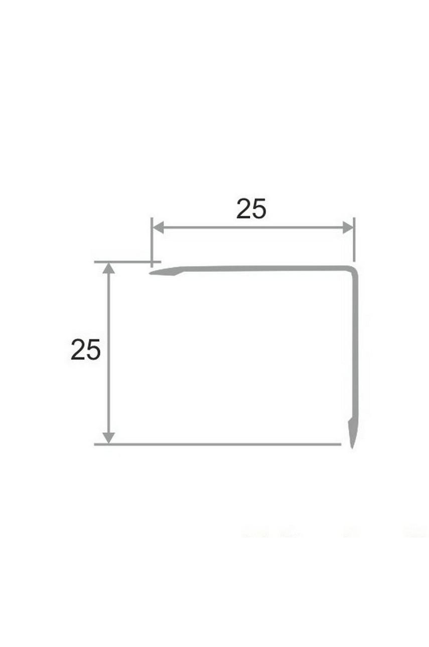 Анодированный алюминиевый уголок 25х25 Серебро Глянец ПН25х25