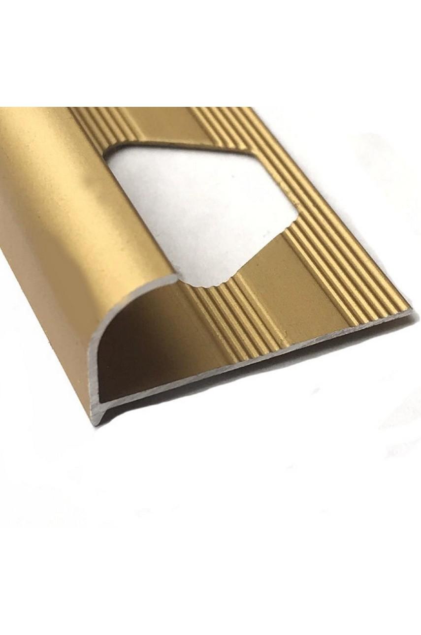 Алюминиевый Профиль(раскладка) для плитки 10-11,5мм Золото Матовый ПО12