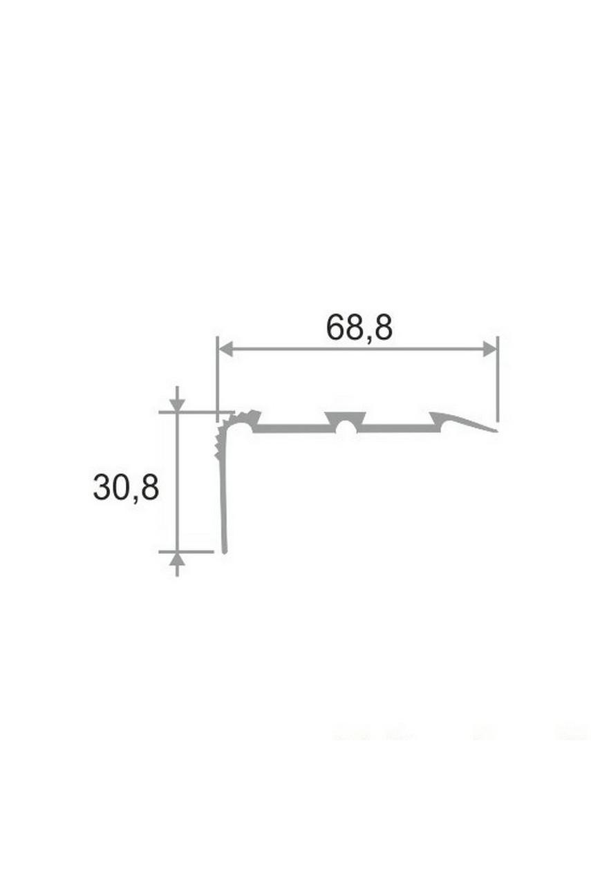 Алюминиевый угловой порог ПО 68х30