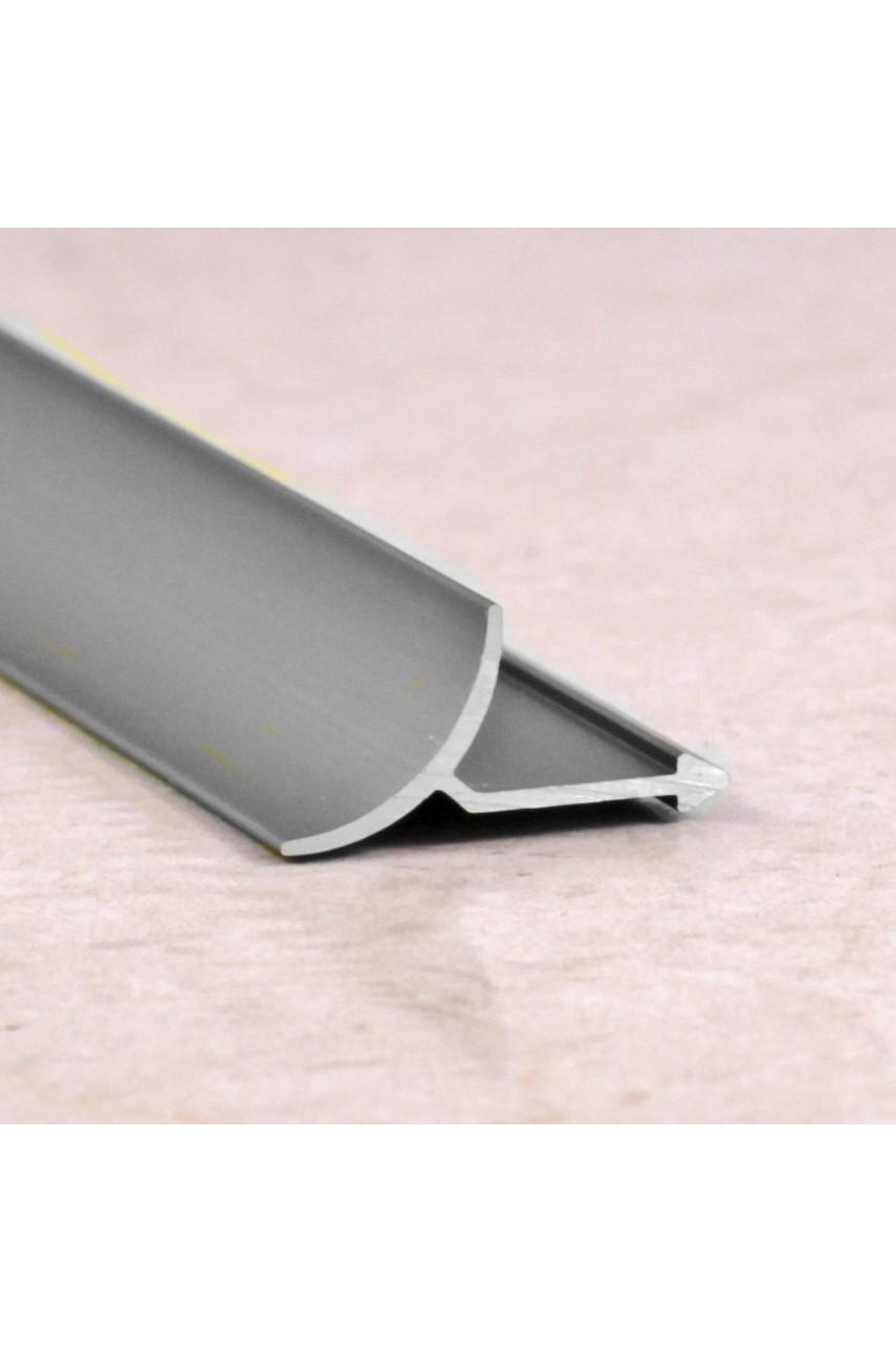 Алюминиевая универсальная раскладка для плитки внутренняя Серебро Глянец ПО В9