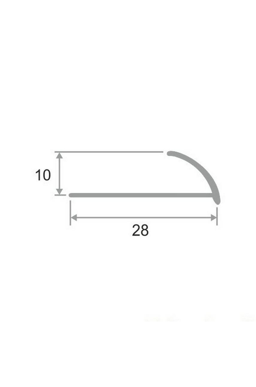 Латунный хромированный профиль раскладка для керамической плитки 10мм ЛПО-9