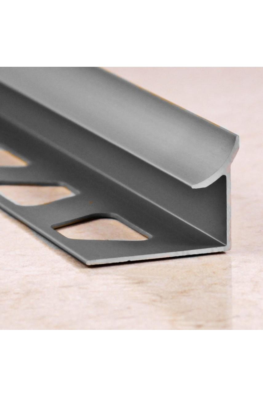 Алюминиевая раскладка для плитки внутренняя Серебро Глянец ПО В10