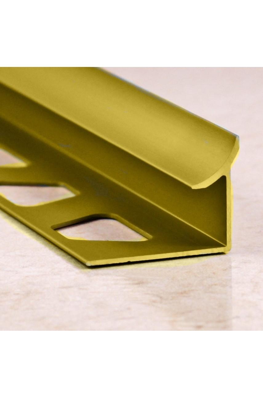 Алюминиевая раскладка для плитки внутренняя Золото Матовый ПО В10